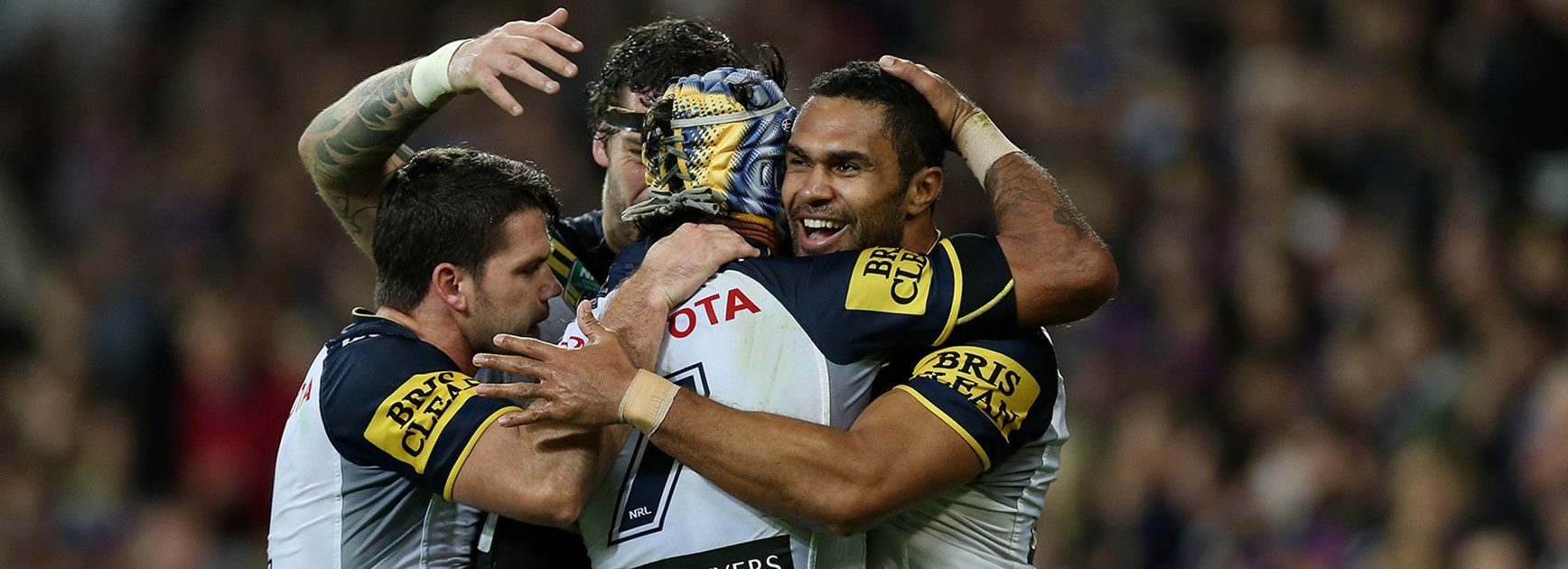 The Cowboys celebrate in their Preliminary Final with the Melbourne Storm at AAMI Park.