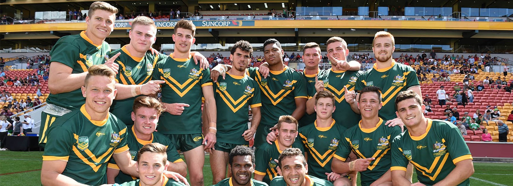 The Australian Schoolboys team celebrate their big win over the NZ u18s side.