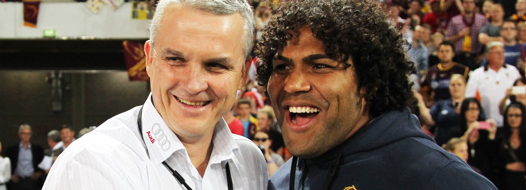 Former Broncos coach Anthony Griffin with veteran Brisbane forward Sam Thaiday.