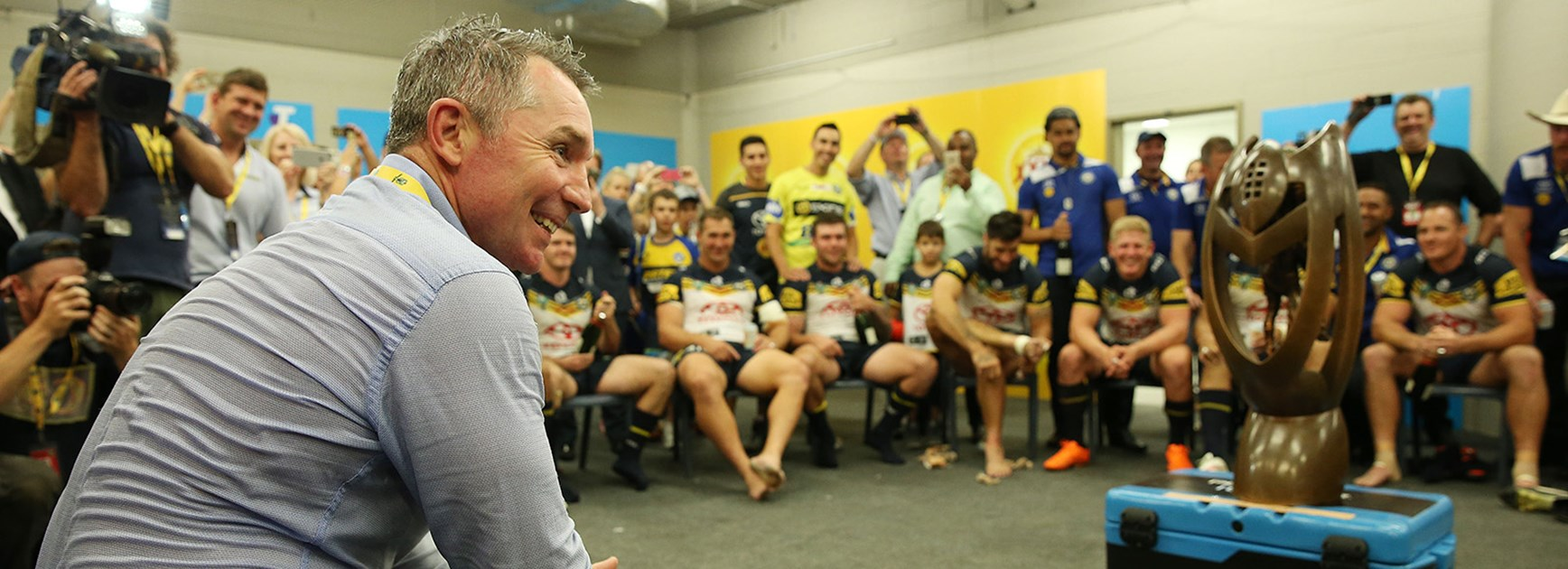Cowboys coach Paul Green in the winning dressing room after the 2015 Telstra Premiership Grand Final.