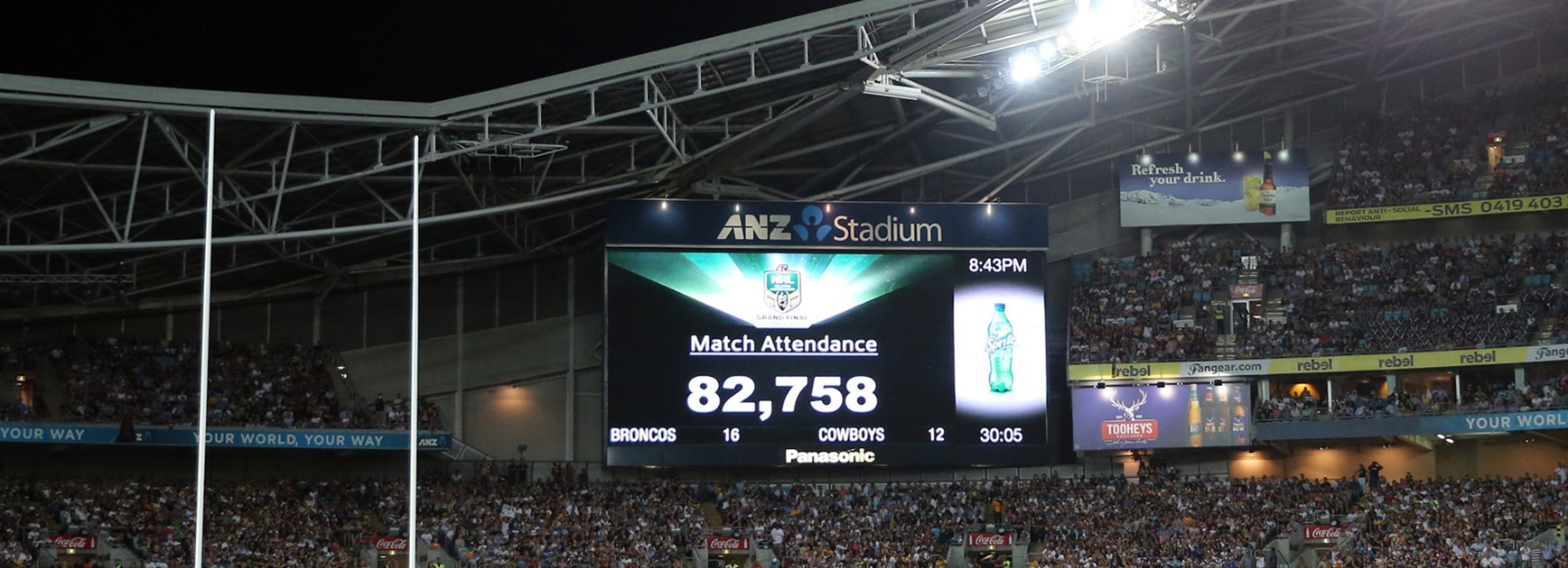 82,758 fans attended the 2015 NRL Telstra Premiership Grand Final at ANZ Stadium.