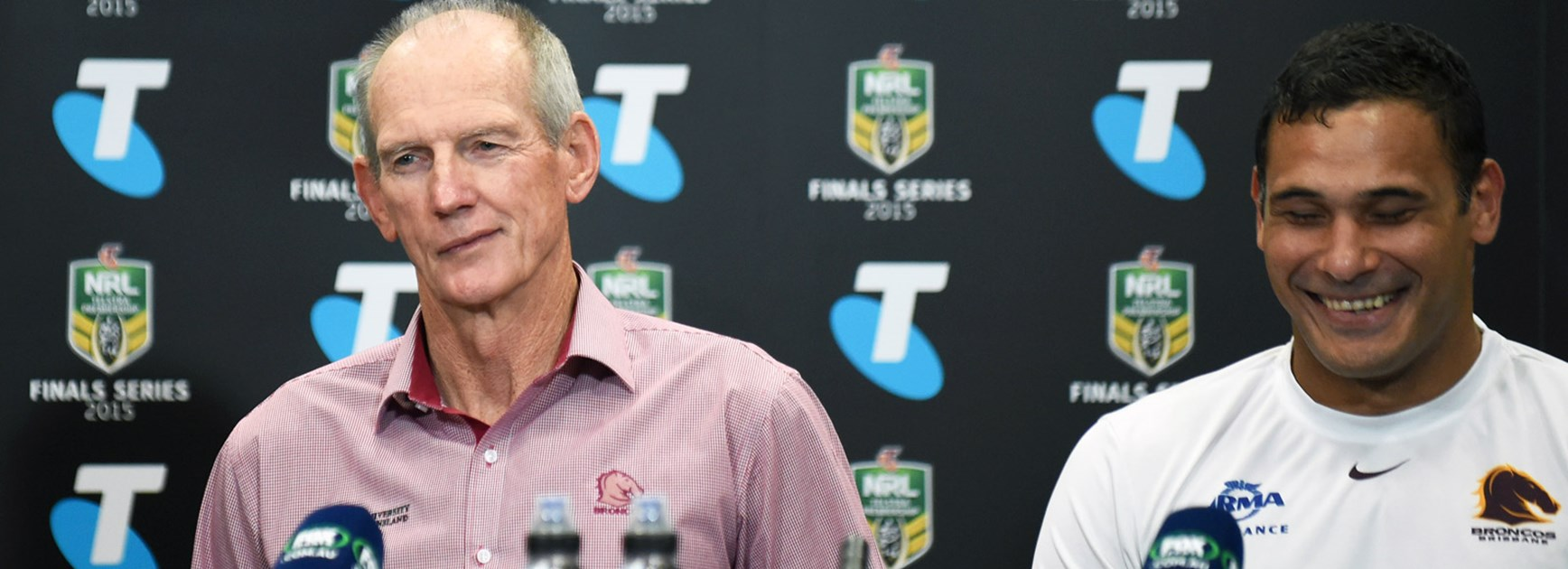 Wayne Bennett and Justin Hodges following Brisbane's win over the Cowboys in Week 1 of the finals.