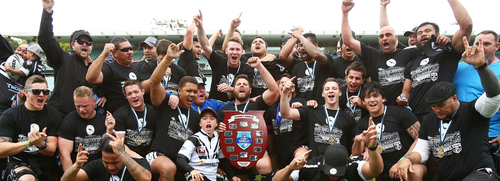 Cook Islands coach Alex Chan (bottom right) coached the Wentworthville Magpies to the 2015 Sydney Shield title.