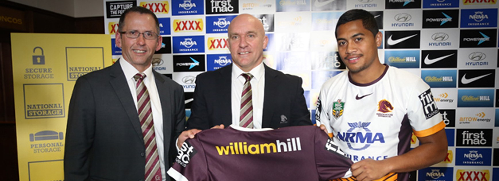National Storage director Andrew Catsoulis, Broncos CEO Paul White and superstar five-eighth Anthony Milford with Brisbane's new away jersey for 2016.