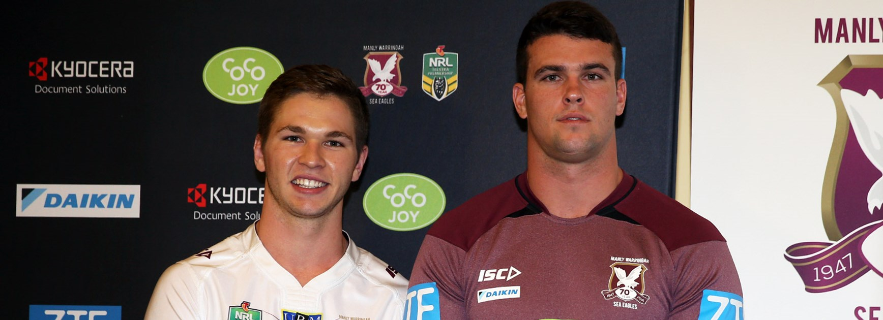 New Sea Eagles signings Matt Parcell and Darcy Lussick.