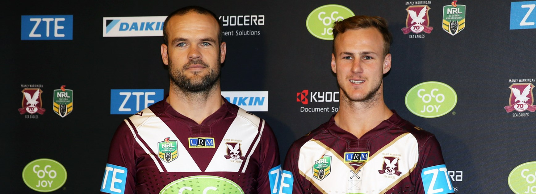 New Manly signing Nate Myles alongside halfback Daly Cherry-Evans in the club's 2016 jersey.