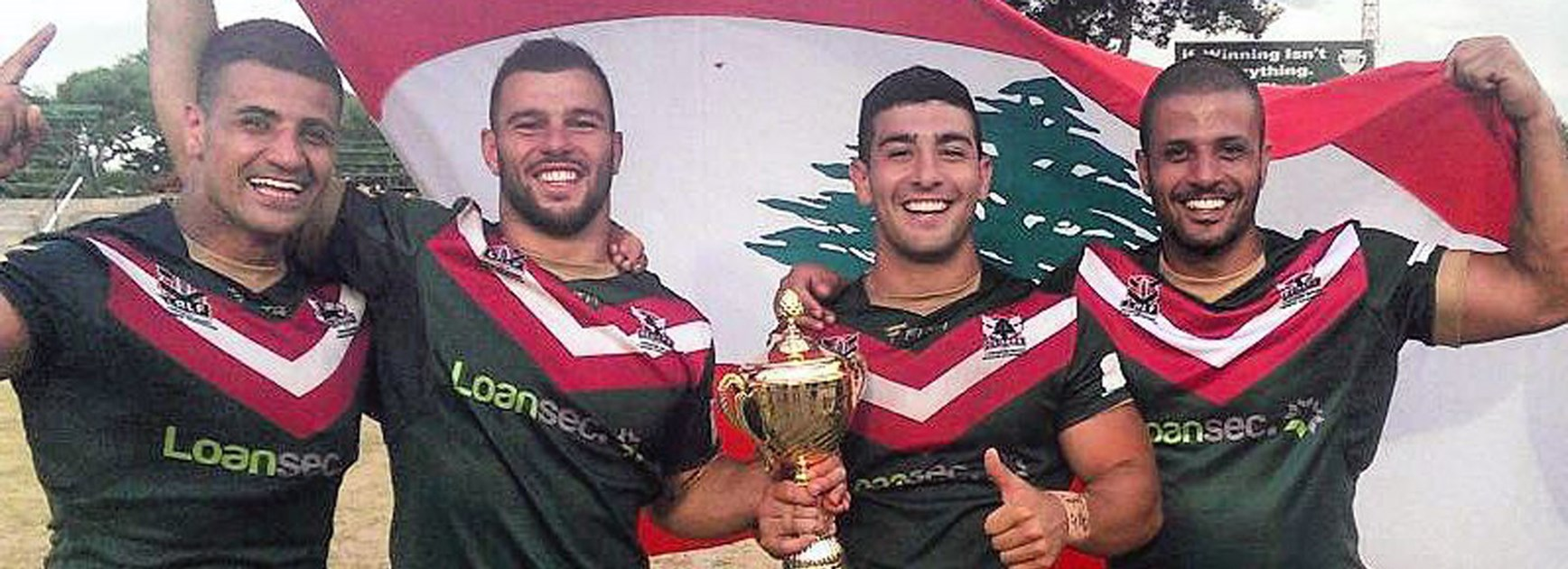 Members of the victorious Lebanon rugby league side who qualified for the 2017 Rugby League World Cup, with James Elias second from left.