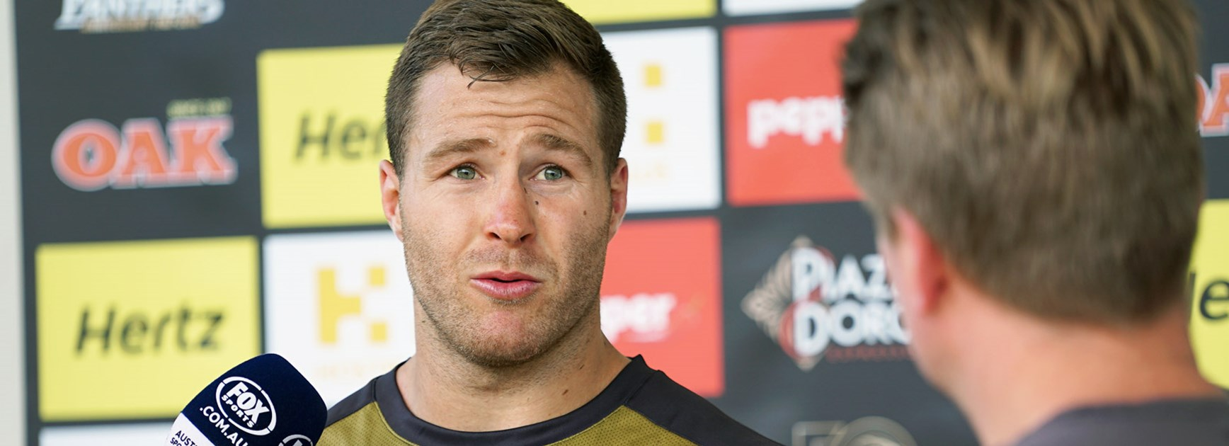 Trent Merrin fronts the media for the first time in Panthers colours.