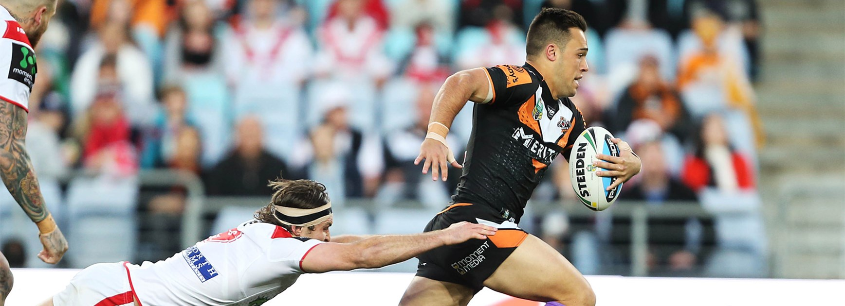 Luke Brooks scored an early intercept try against the Dragons on Saturday.