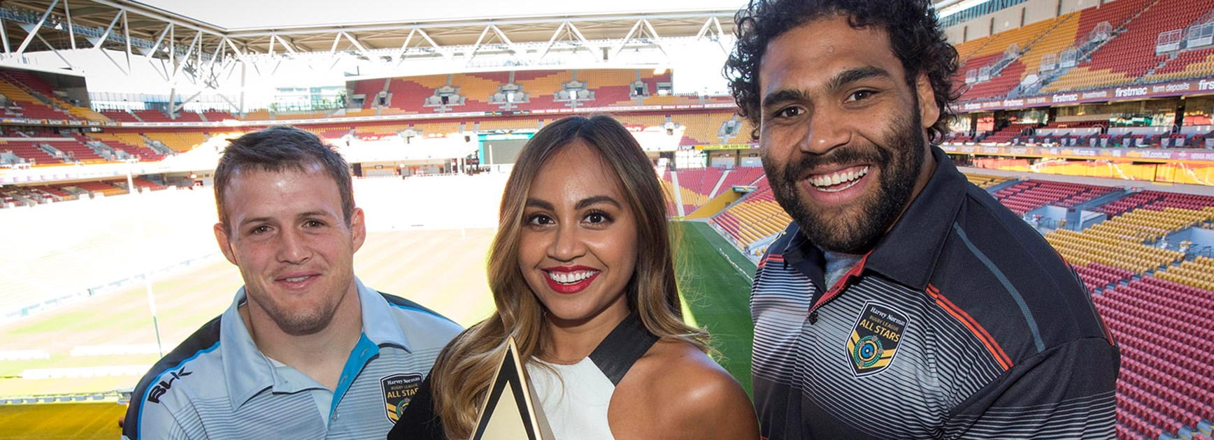 Josh Morris, Jessica Mauboy and Sam Thaiday at the launch of the 2016 All Stars Match.