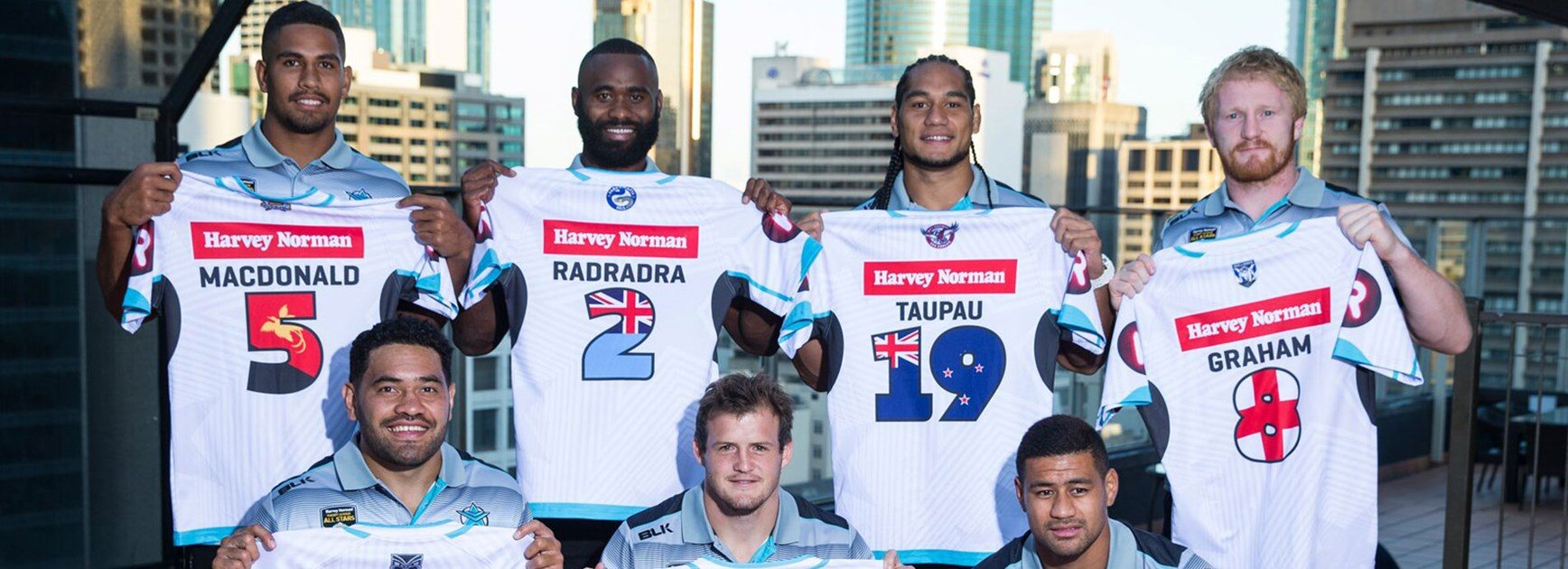 World All Stars representatives Nene Macdonald (PNG), Semi Radradra (Fiji), Martin Taupau (New Zealand), James Graham (England), Konrad Hurrell (Tonga), Josh Morris (Australia) and Matthew Wright (Samoa).
