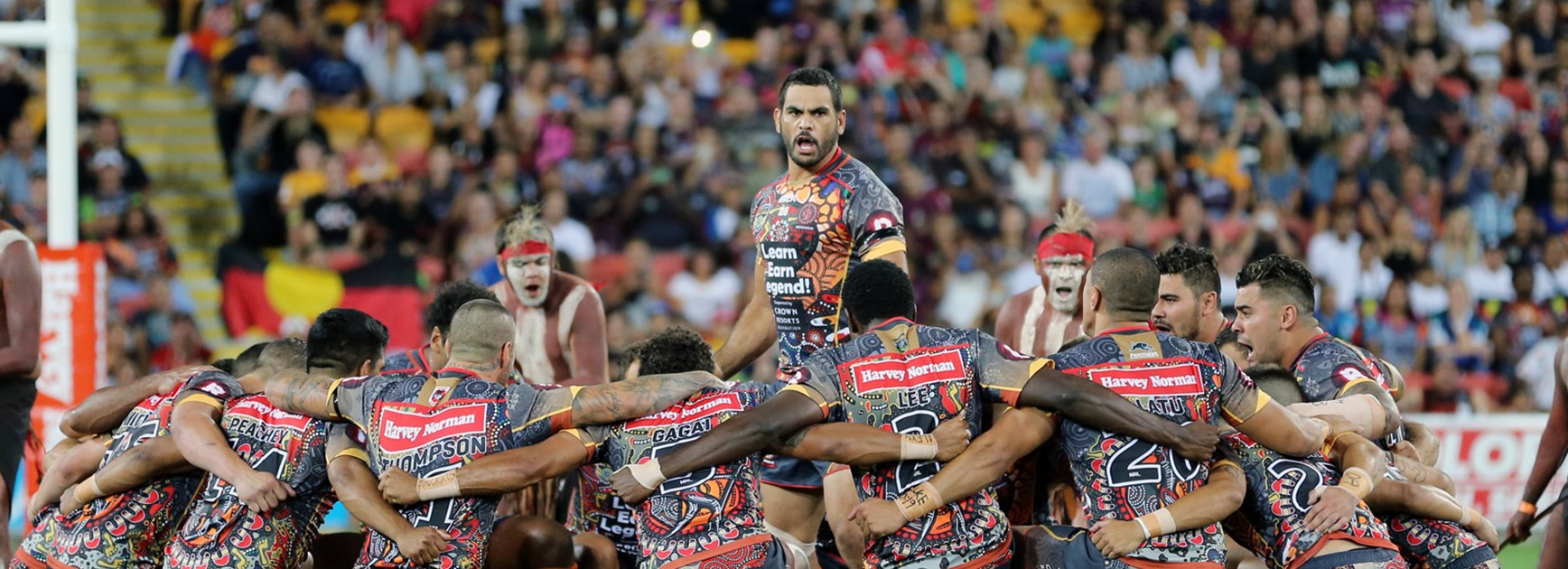 Greg Inglis leads the Indigenous All Stars' war cry prior to the 2016 All Stars fixture.