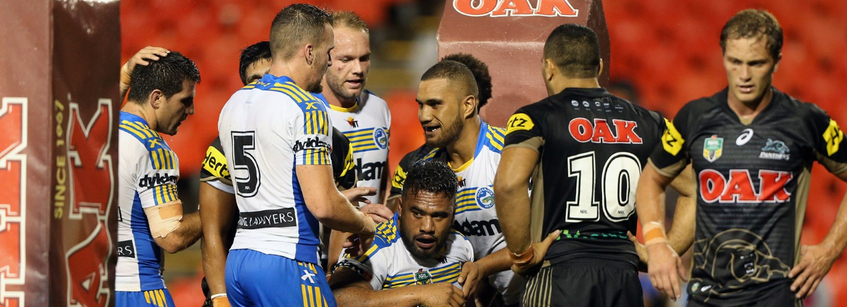 The Eels celebrate a try during their trial win over the Panthers at Pepper Stadium.
