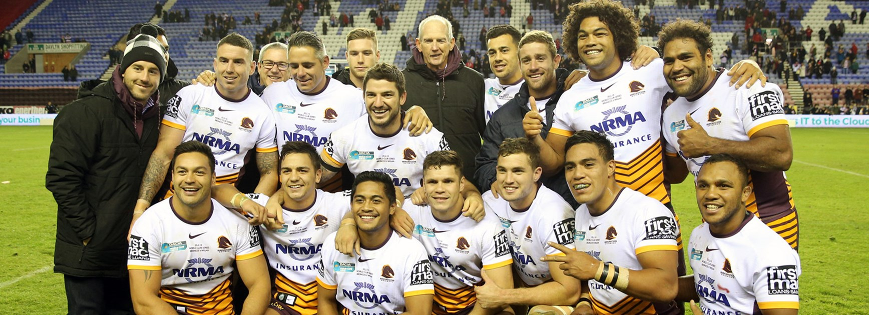 The victorious Brisbane Broncos following their 2016 World Club Series win over Wigan.