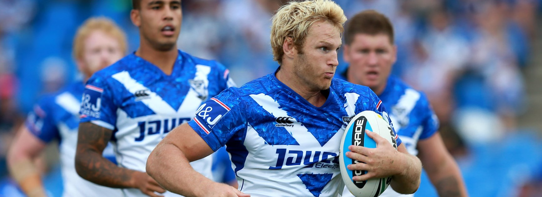 Bulldogs prop Aiden Tolman in action during his side's trial win over the Storm.