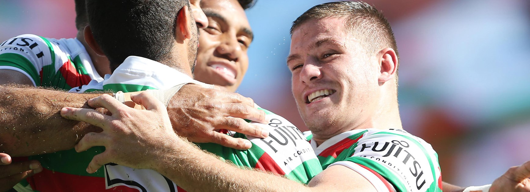 Paul Carter celebrates during the Rabbitohs' Round 1 win over the Roosters.