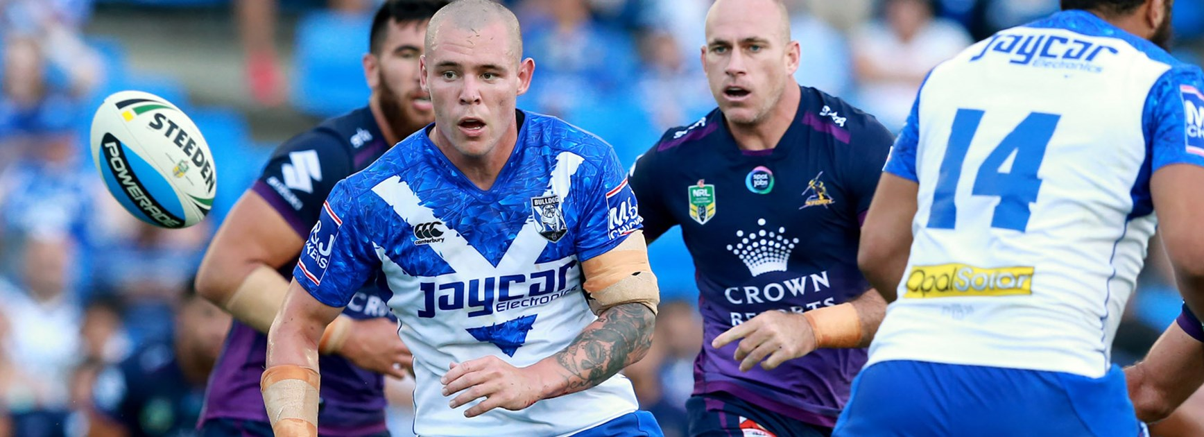 Bulldogs prop David Klemmer against the Storm in a pre-season trial.
