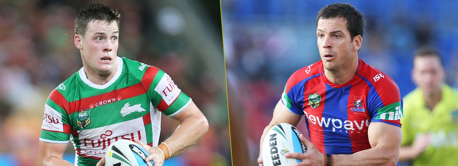 Rabbitohs five-eighth Luke Keary and Newcastle playmaker Jarrod Mullen.