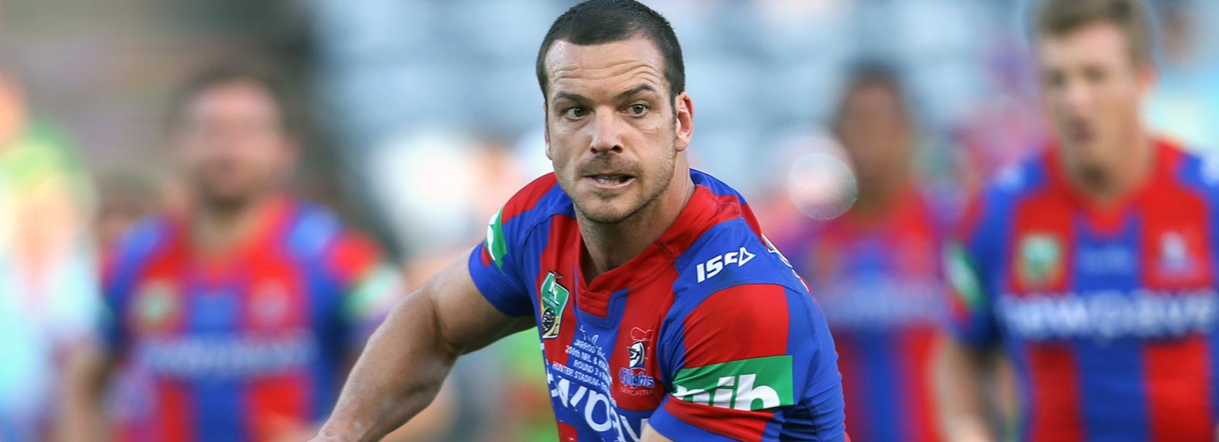 Knights five-eighth Jarrod Mullen in is 200th NRL game against the Raiders in Round 3.