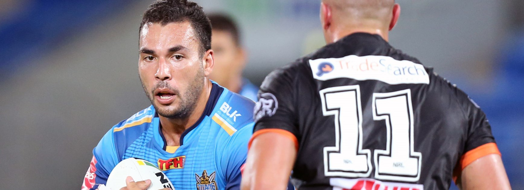 Ryan James in action for the Titans against Wests Tigers.