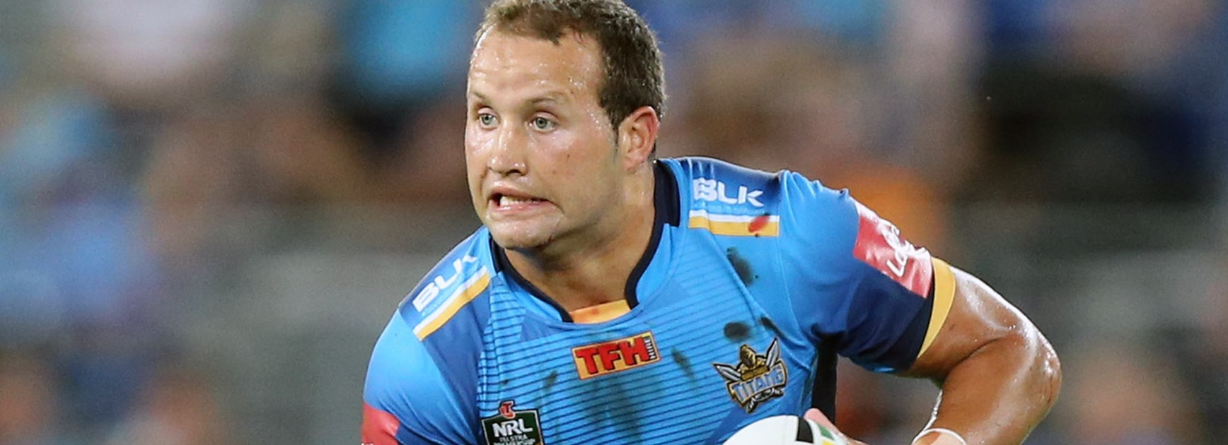 Tyrone Roberts in action for the Titans in his 100th NRL game on Saturday.