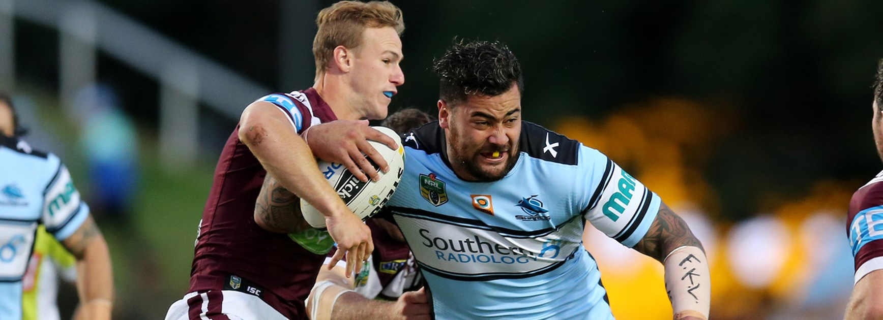 Andrew Fifita makes a run against Manly in Round 3.