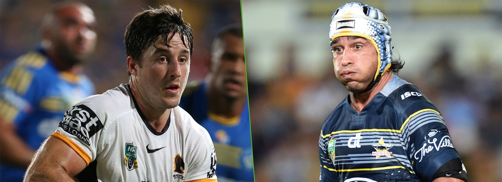 Broncos halfback Ben Hunt and Cowboys superstar Johnathan Thurston.