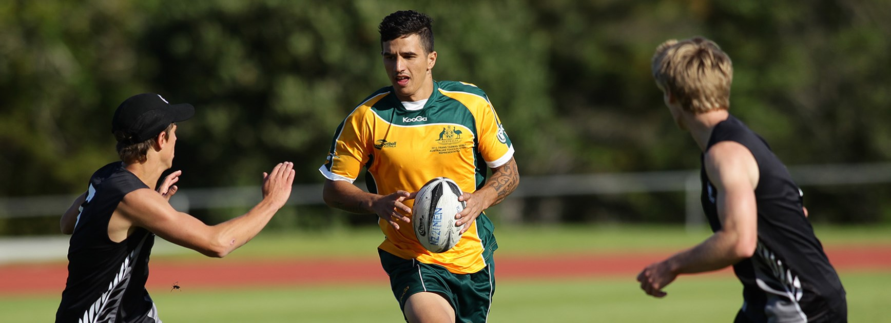 Jordan Marshall-King in action for Australia against New Zealand.