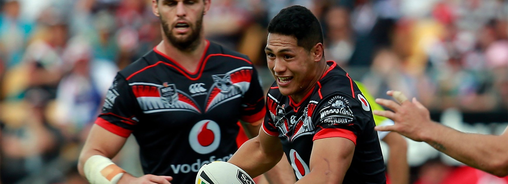 Roger Tuivasa-Sheck takes a run against the Melbourne Storm in Round 3.