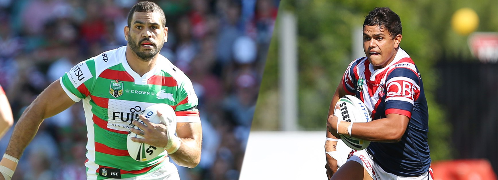 Greg Inglis takes on Latrell Mitchell when the Rabbitohs host the Roosters at ANZ Stadium.