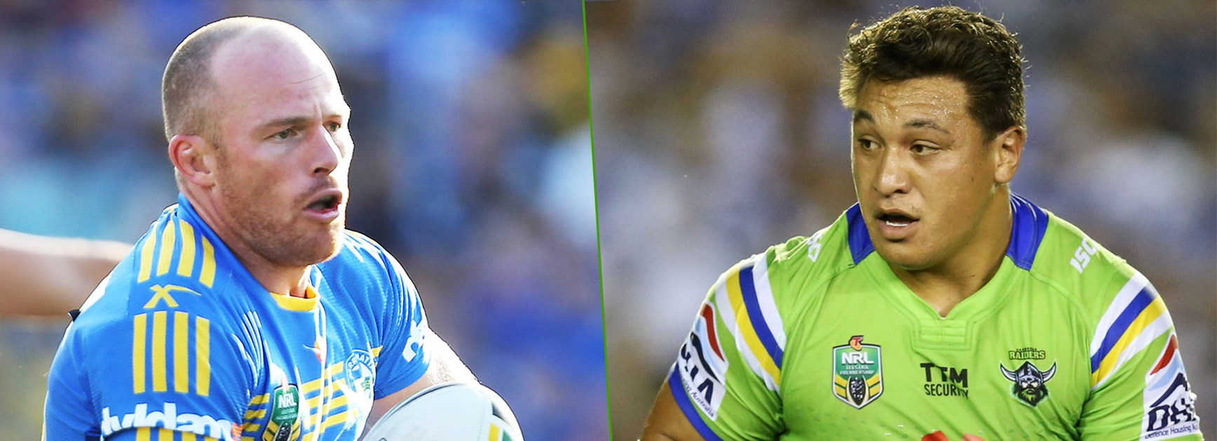 Parramatta's defensive powerhouse Beau Scott and Canberra's wrecking ball Josh Papalii.