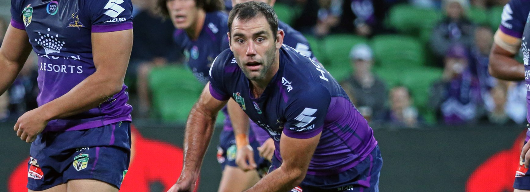 Storm captain Cameron Smith against the Bulldogs in Round 6.