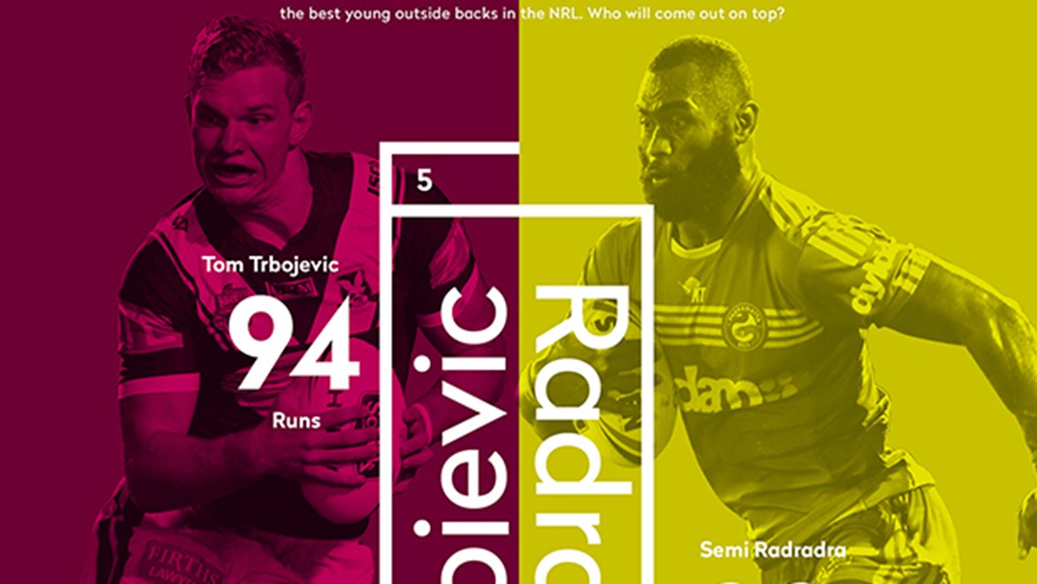 Manly's Tom Trbojevic and Parramatta's Semi Radradra go head-to-head in Round 7 of the Telstra Premiership.