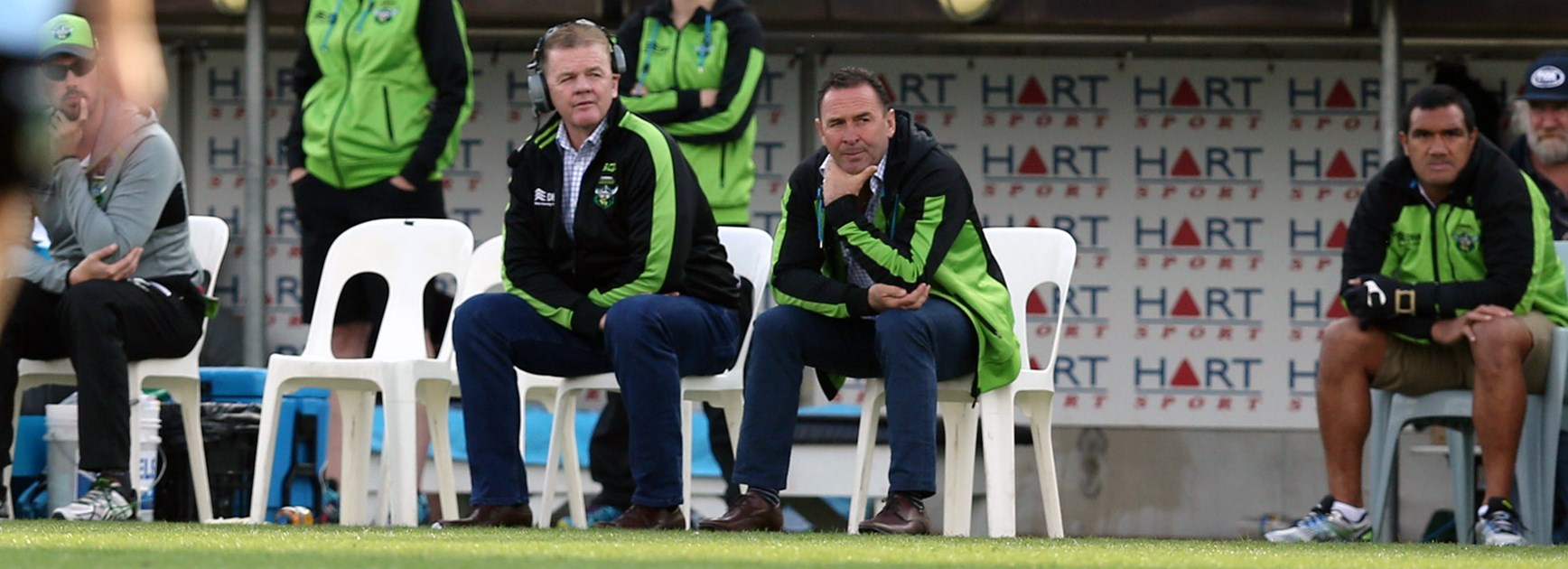 Raiders coach Ricky Stuart watches on in Round 7.