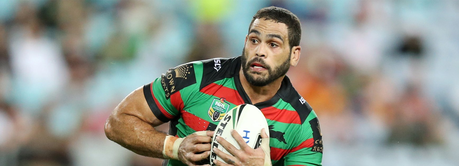 Greg Inglis takes a run during the Rabbitohs' Thursday night game against the Tigers.