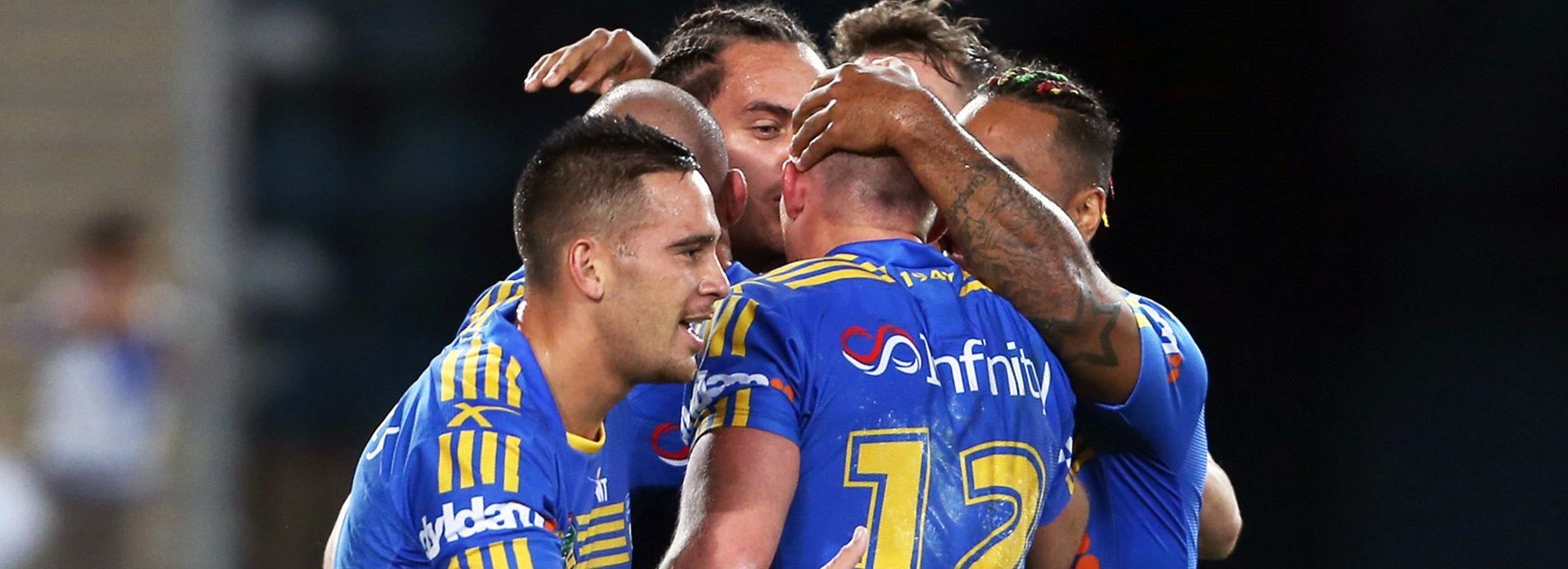 Eels players celebrate during their win over the Bulldogs in Round 9.