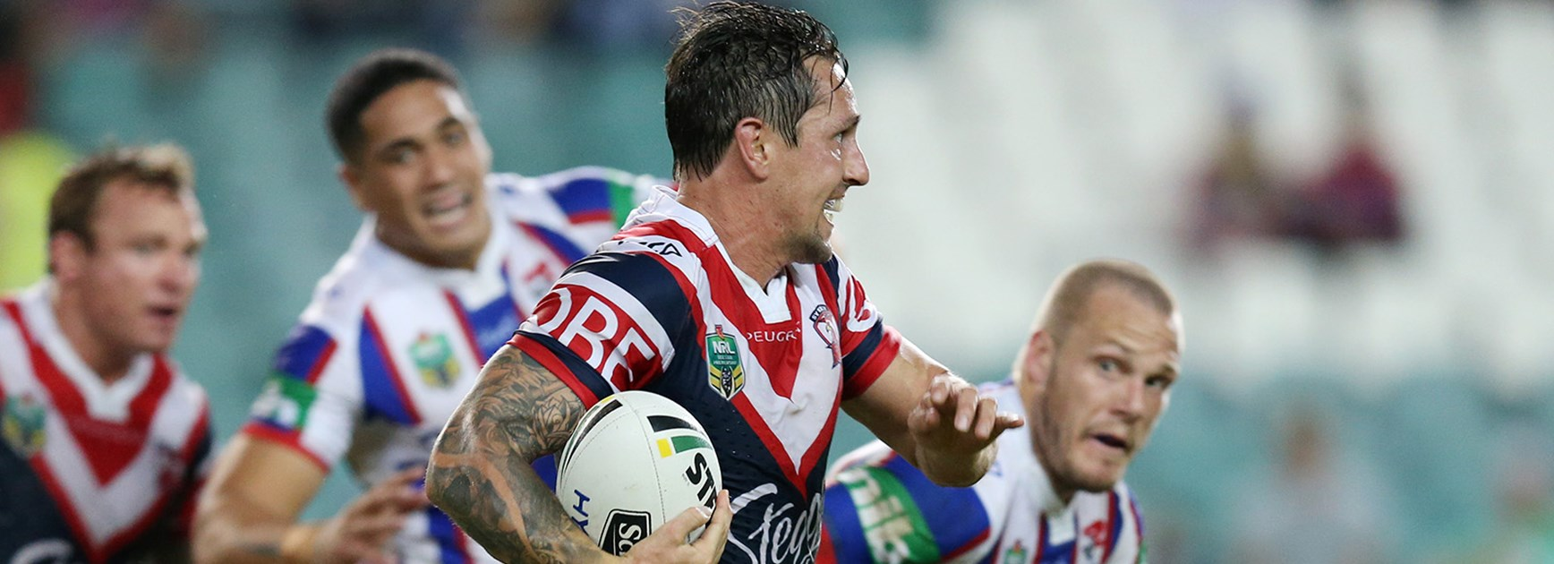 Mitchell Pearce scored in his first game of 2016 against the Knights in Round 9.