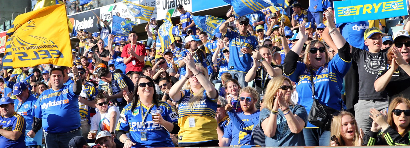 Eels fans applaud their team at Pirtek Stadium.