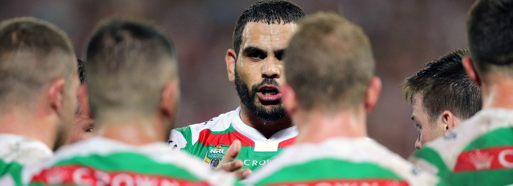 Souths captain Greg Inglis addresses his team in Round 8.