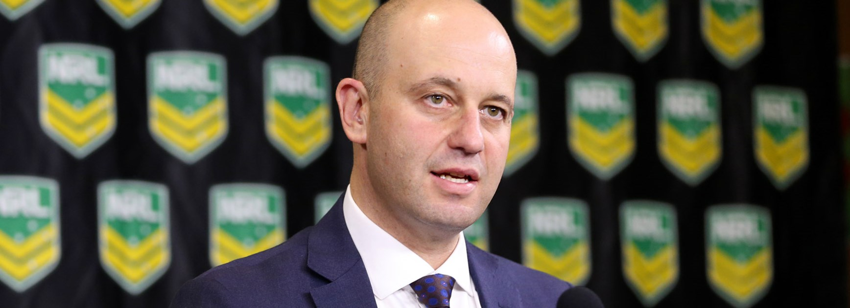 NRL CEO Todd Greenberg at the announcement of the preliminary findings of the Eels salary cap investigation.