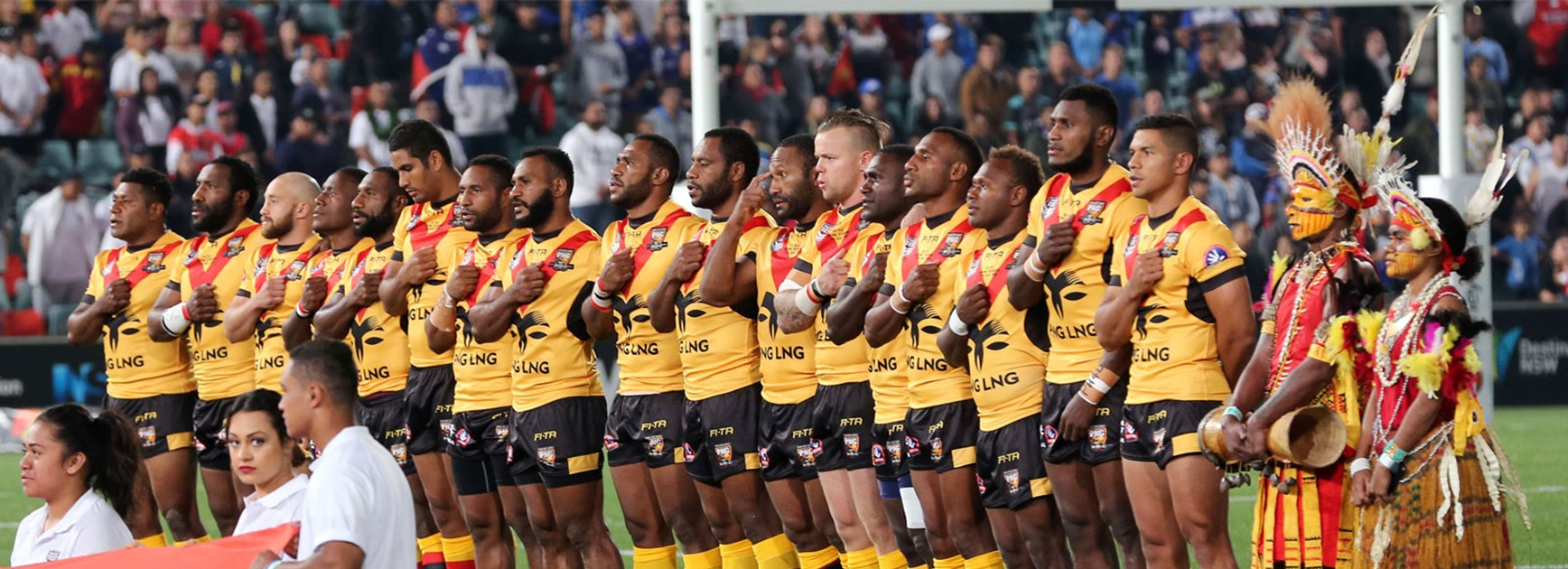 Papua New Guinea players line up for the national anthem ahead of Saturday's Test against Fiji.