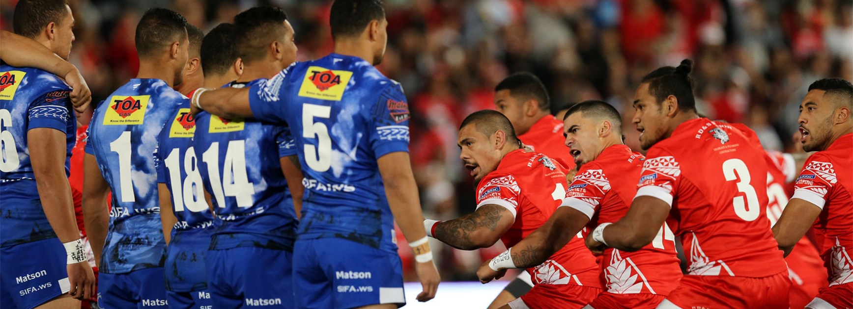 Samoa face off against Tonga's pre-game war dance on Saturday.