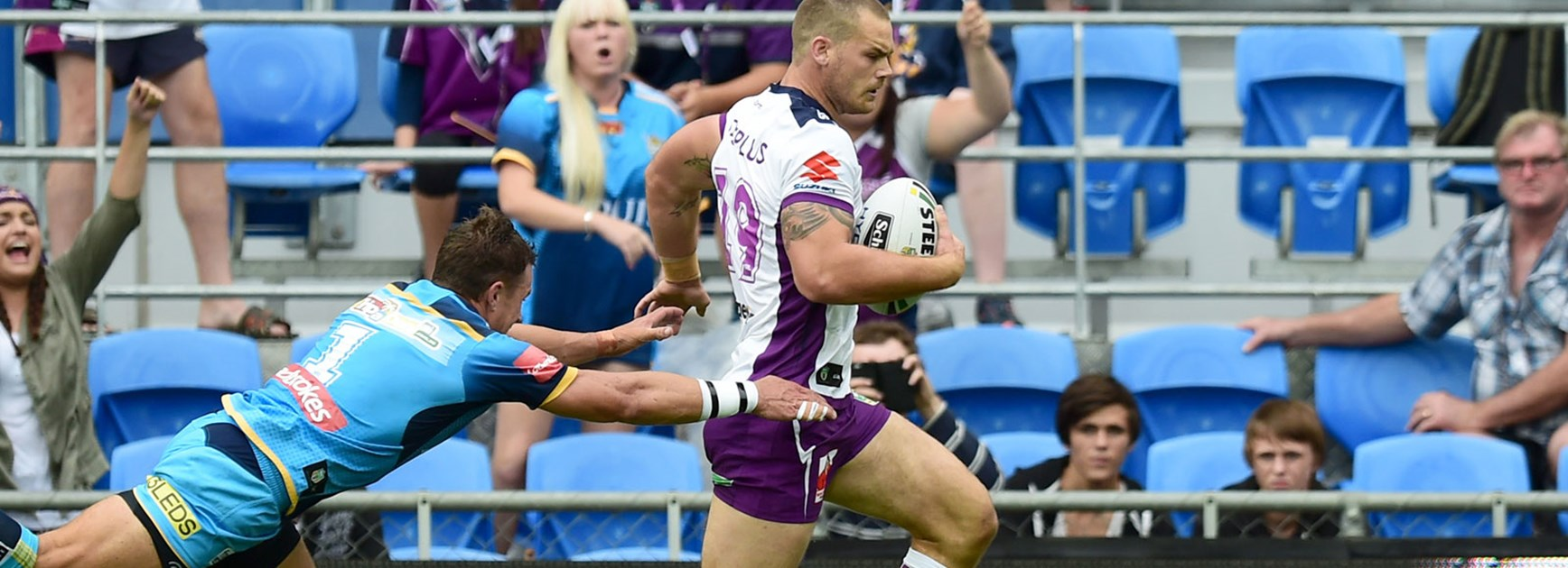 Cheyse Blair scored on his Melbourne Storm debut against the Titans.