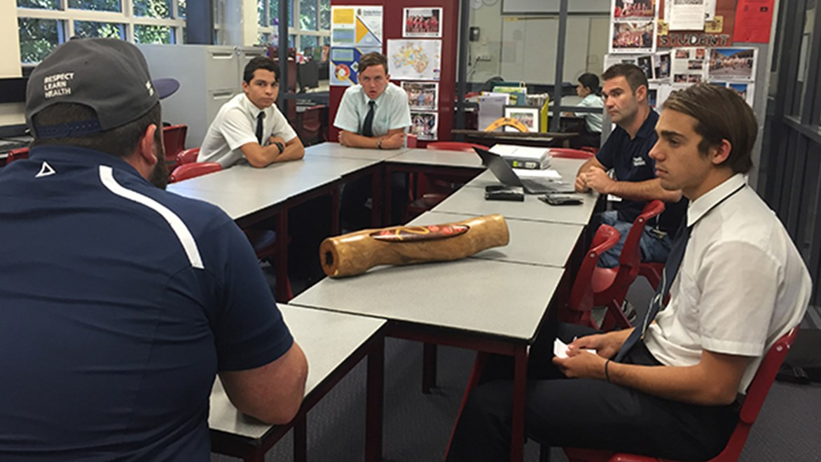Students taking part in the NRL's School to Work program.