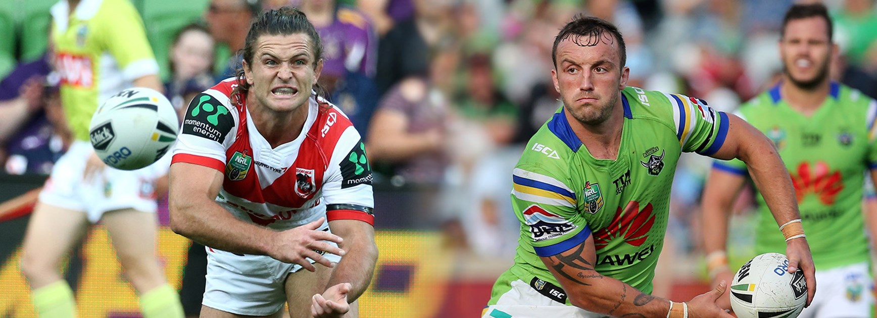 Mitch Rein and Josh Hodgson will be crucial in the battle between the Dragons and the Raiders.