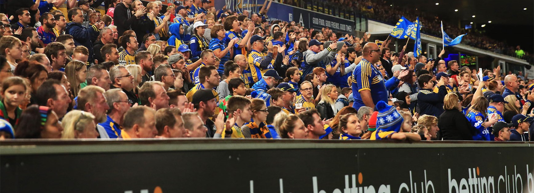 The Parramatta Eels crowd during Thursday night's clash with the Rabbitohs.