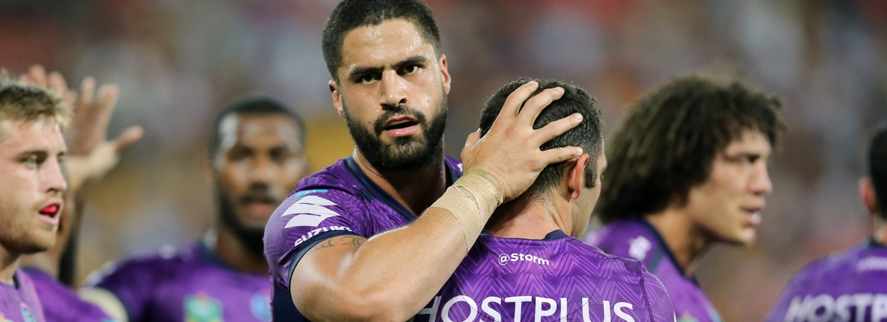 Storm prop Jesse Bromwich with Cameron Smith in Round 10.