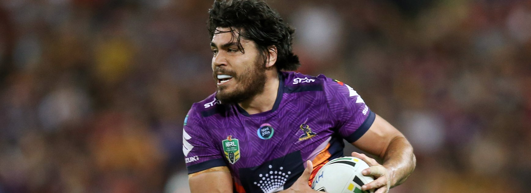 Storm forward Tohu Harris was immense against the Cowboys at Suncorp Stadium.