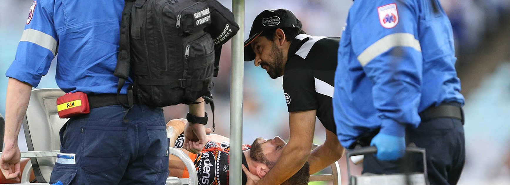 Robbie Farah was injured during his side's clash with the Bulldogs at ANZ Stadium.
