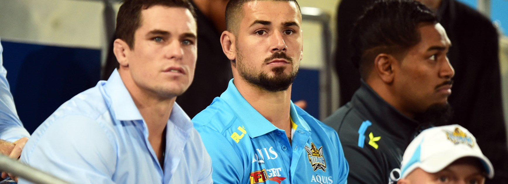 Titans recruit Nathan Peats watched on as his new side defeated the Roosters.